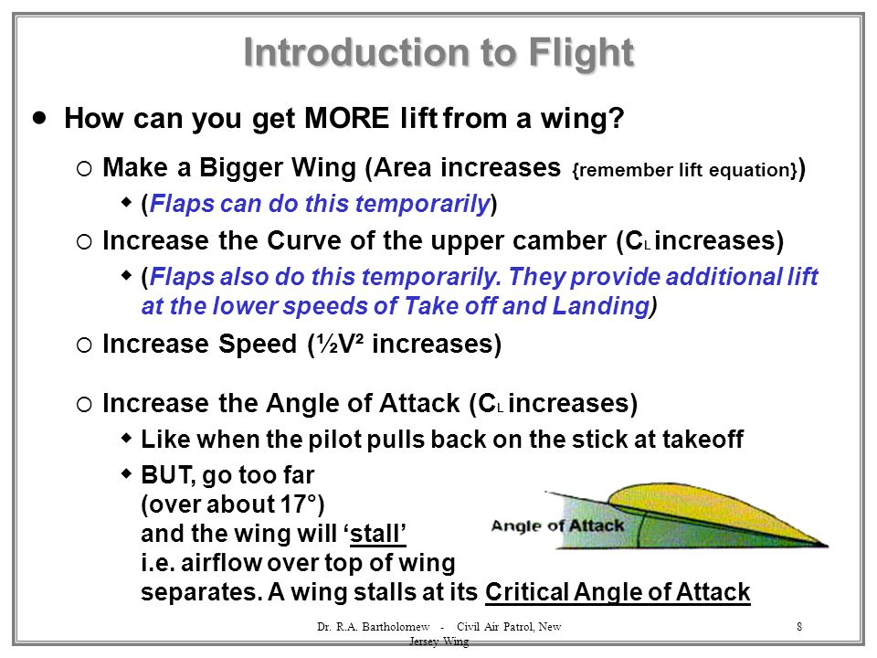 Dr. R.A. Bartholomew - Civil Air Patrol, New Jersey Wing 8 Introduction to Flight  How can you get MORE lift from a wing?  Make a Bigger Wing (Area