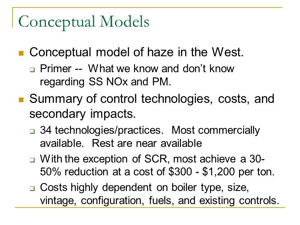 Conceptual Models Conceptual model of haze in the West.
