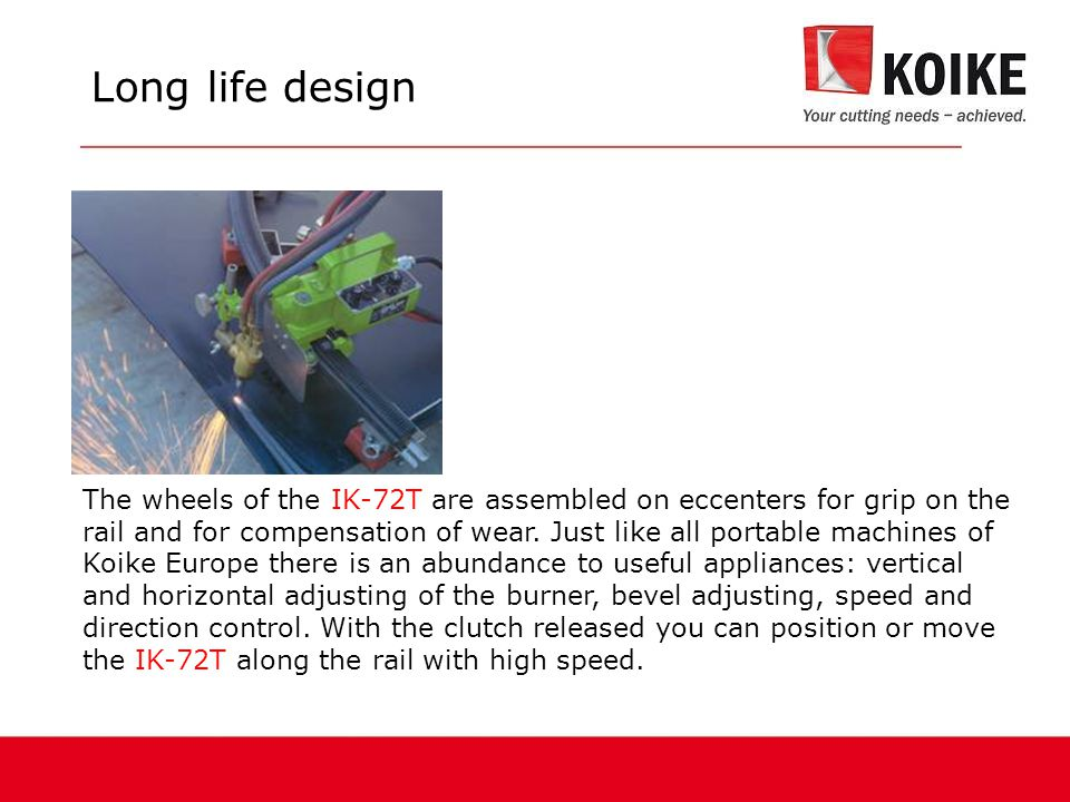 The wheels of the IK-72T are assembled on eccenters for grip on the rail and for compensation of wear.