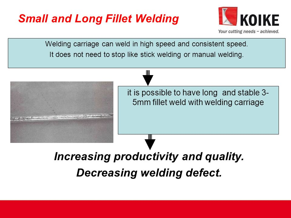 Welding carriage can weld in high speed and consistent speed.