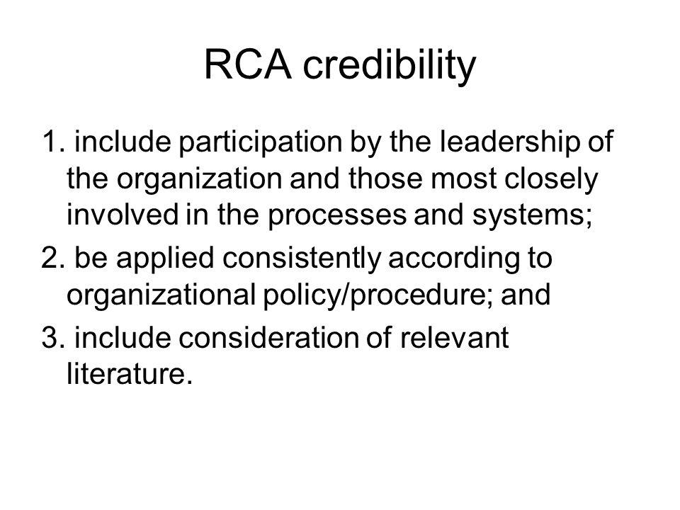 RCA credibility 1.