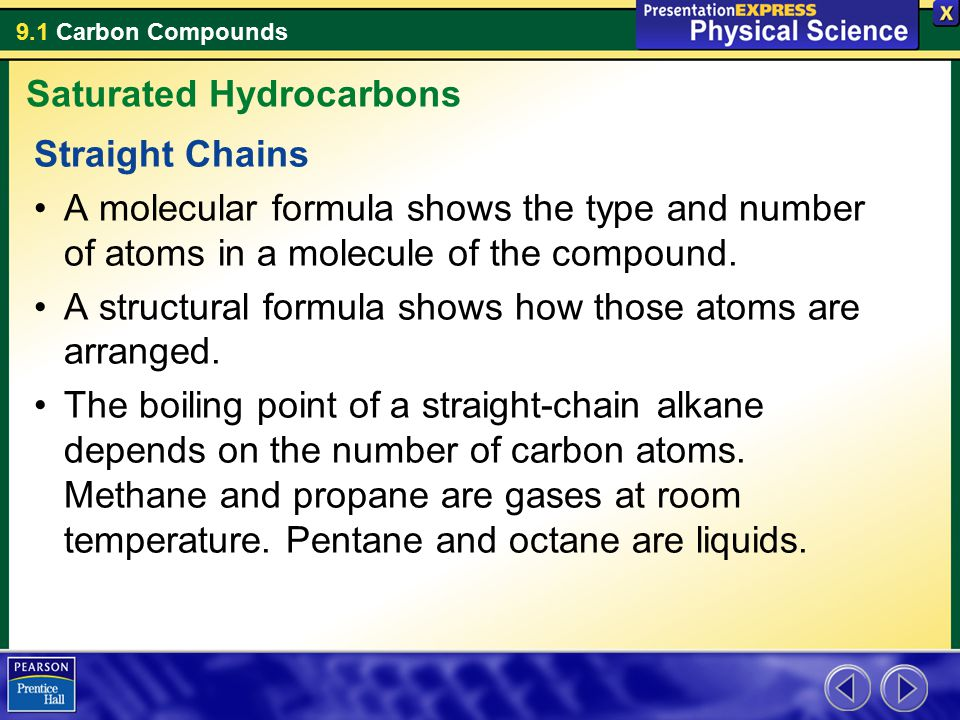 9.1 Carbon Compounds Straight Chains A molecular formula shows the type and number of atoms in a molecule of the compound. A structural formula shows