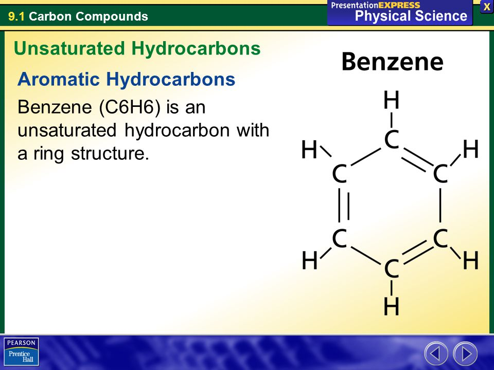 9.1 Carbon Compounds Aromatic Hydrocarbons Benzene (C6H6) is an unsaturated hydrocarbon with a ring structure. Unsaturated Hydrocarbons