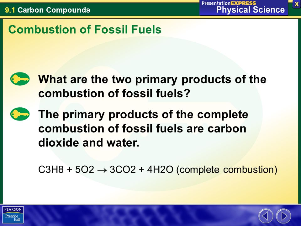 9.1 Carbon Compounds What are the two primary products of the combustion of fossil fuels? The primary products of the complete combustion of fossil fu