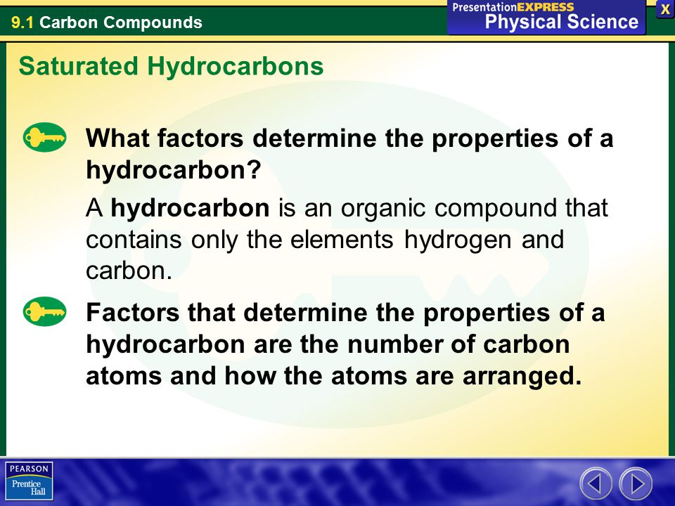 9.1 Carbon Compounds What factors determine the properties of a hydrocarbon? A hydrocarbon is an organic compound that contains only the elements hydr