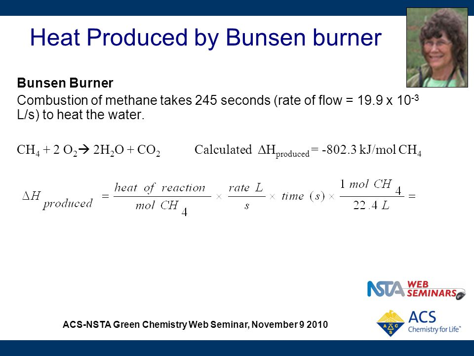 ACS-NSTA Green Chemistry Web Seminar, November 9 2010 Heat Produced by Bunsen burner Bunsen Burner Combustion of methane takes 245 seconds (rate of fl