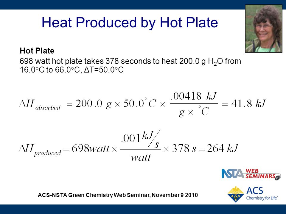 ACS-NSTA Green Chemistry Web Seminar, November 9 2010 Heat Produced by Hot Plate Hot Plate 698 watt hot plate takes 378 seconds to heat 200.0 g H 2 O