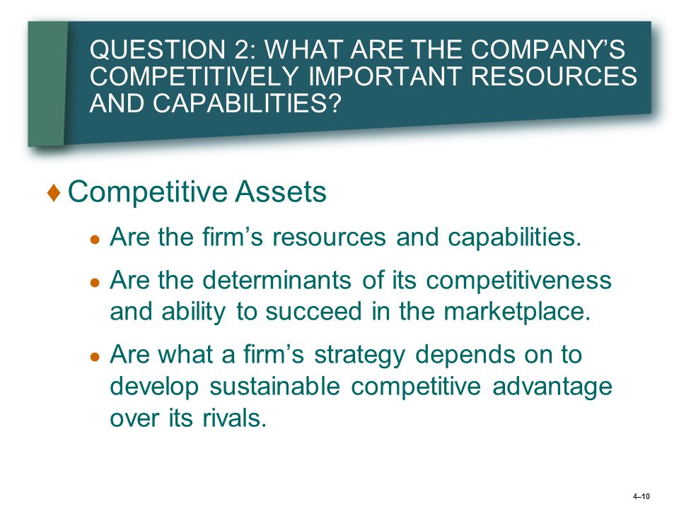 4–10 QUESTION 2: WHAT ARE THE COMPANY'S COMPETITIVELY IMPORTANT RESOURCES AND CAPABILITIES.