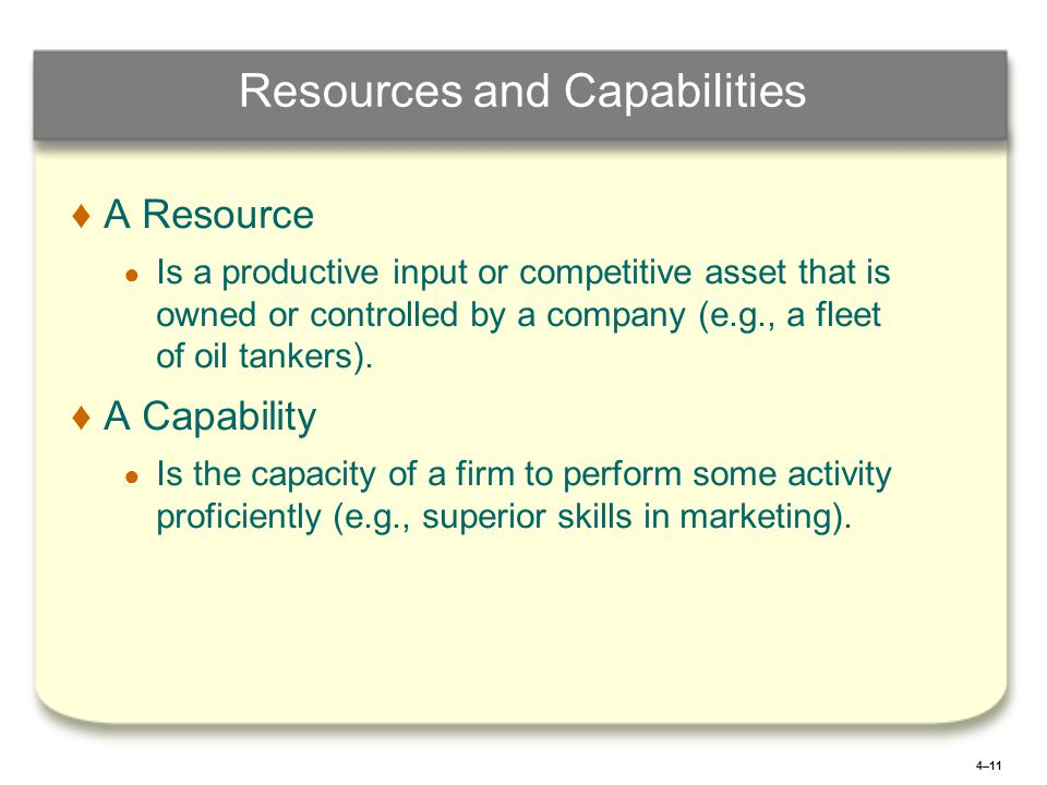 4–11 Resources and Capabilities ♦ ♦A Resource ● ● Is a productive input or competitive asset that is owned or controlled by a company (e.g., a fleet o