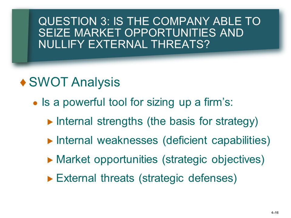 4–16 QUESTION 3: IS THE COMPANY ABLE TO SEIZE MARKET OPPORTUNITIES AND NULLIFY EXTERNAL THREATS.