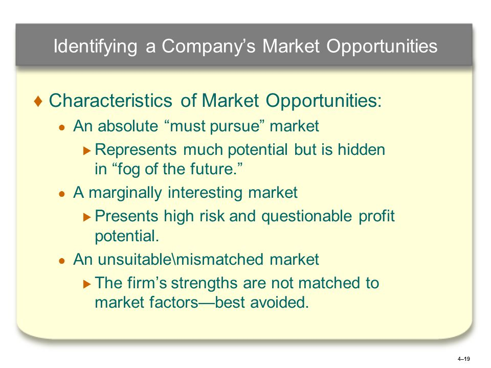 4–19 Identifying a Company's Market Opportunities ♦ ♦Characteristics of Market Opportunities: ● ● An absolute must pursue market   Represents much potential but is hidden in fog of the future. ● ● A marginally interesting market   Presents high risk and questionable profit potential.