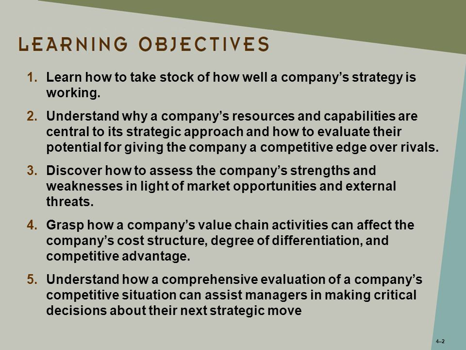 4–24–2 1.Learn how to take stock of how well a company's strategy is working. 2.Understand why a company's resources and capabilities are central to i