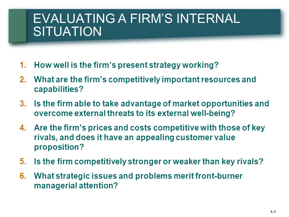 4–34–3 EVALUATING A FIRM'S INTERNAL SITUATION 1.1.How well is the firm's present strategy working.