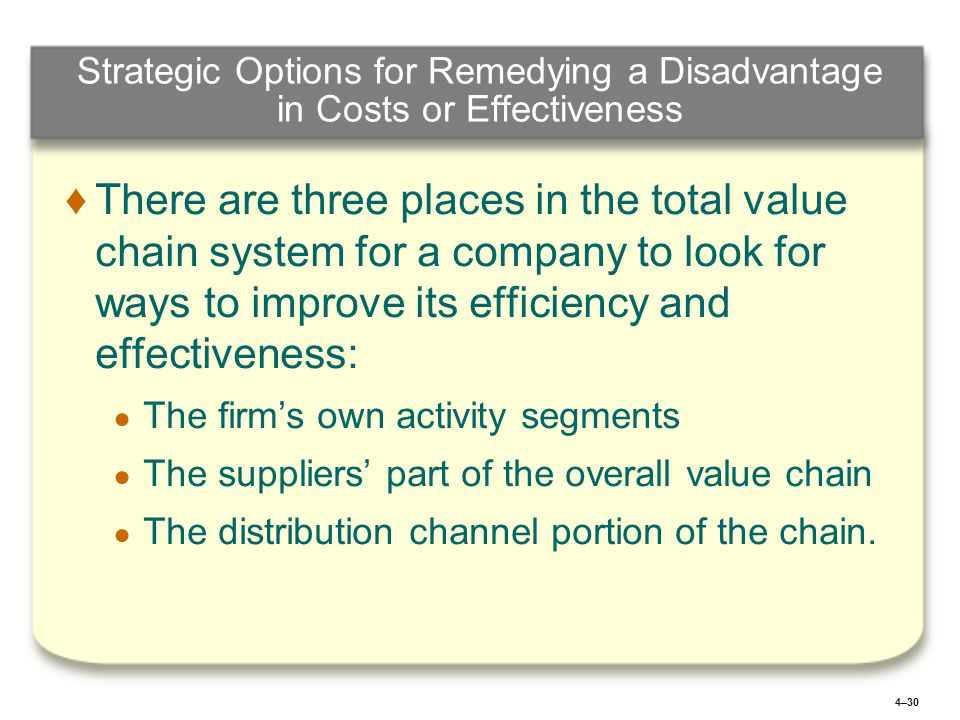 4–30 Strategic Options for Remedying a Disadvantage in Costs or Effectiveness ♦ ♦There are three places in the total value chain system for a company to look for ways to improve its efficiency and effectiveness: ● ● The firm's own activity segments ● ● The suppliers' part of the overall value chain ● ● The distribution channel portion of the chain.