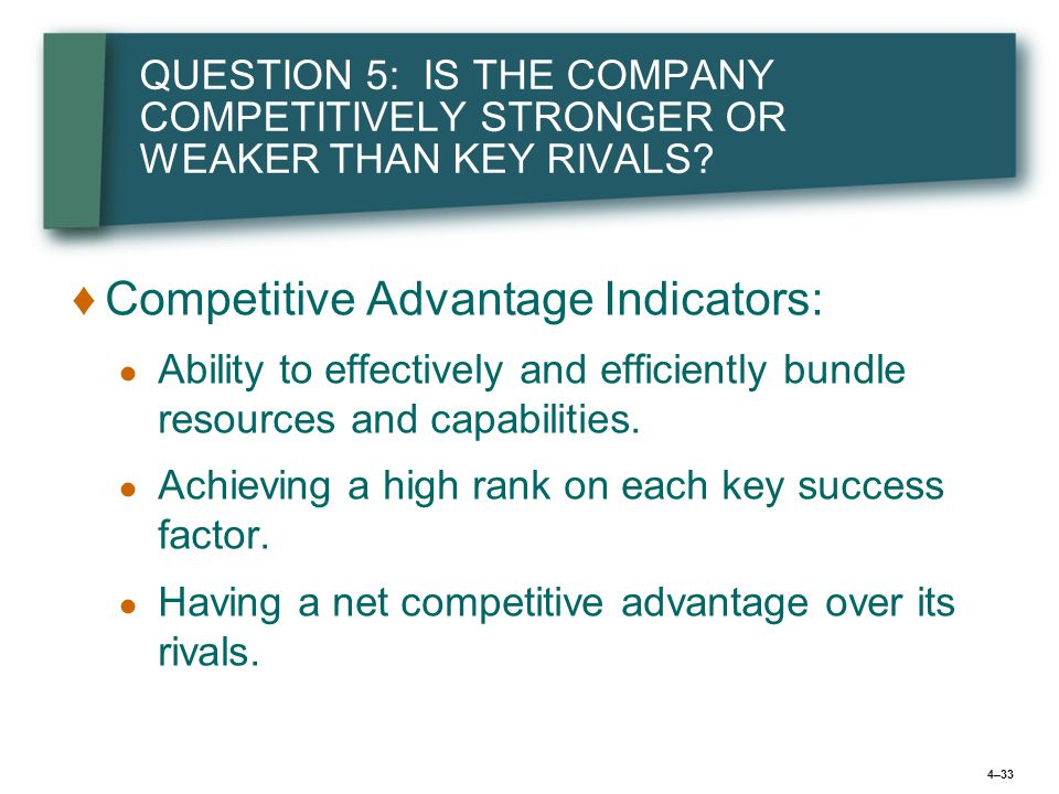 4–33 QUESTION 5: IS THE COMPANY COMPETITIVELY STRONGER OR WEAKER THAN KEY RIVALS.