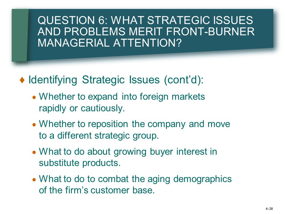 4–38 QUESTION 6: WHAT STRATEGIC ISSUES AND PROBLEMS MERIT FRONT-BURNER MANAGERIAL ATTENTION.