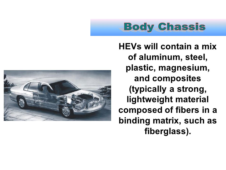HEVs will contain a mix of aluminum, steel, plastic, magnesium, and composites (typically a strong, lightweight material composed of fibers in a bindi