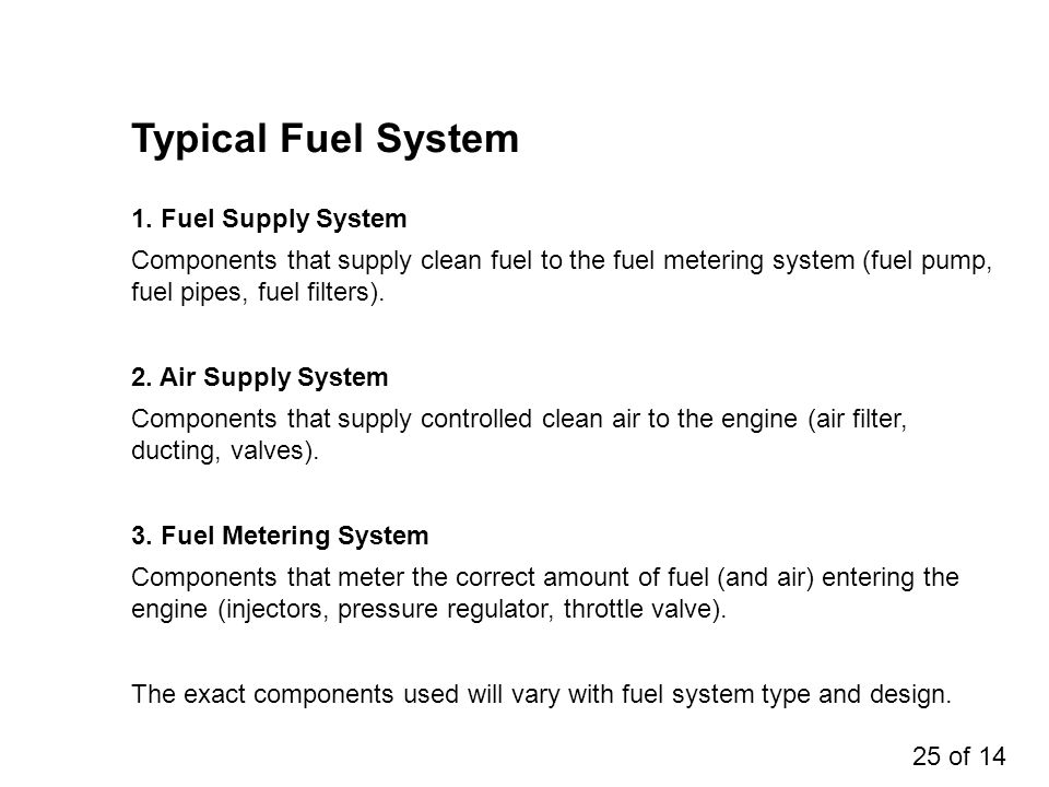 Typical Fuel System Components that supply clean fuel to the fuel metering system (fuel pump, fuel pipes, fuel filters). 1. Fuel Supply System Compone