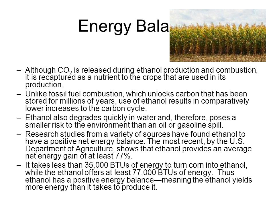 Energy Balance –Although CO 2 is released during ethanol production and combustion, it is recaptured as a nutrient to the crops that are used in its p
