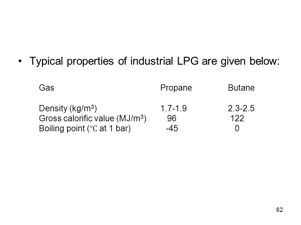 62 Typical properties of industrial LPG are given below: GasPropaneButane Density (kg/m 3 )1.7-1.92.3-2.5 Gross calorific value (MJ/m 3 )96122 Boiling