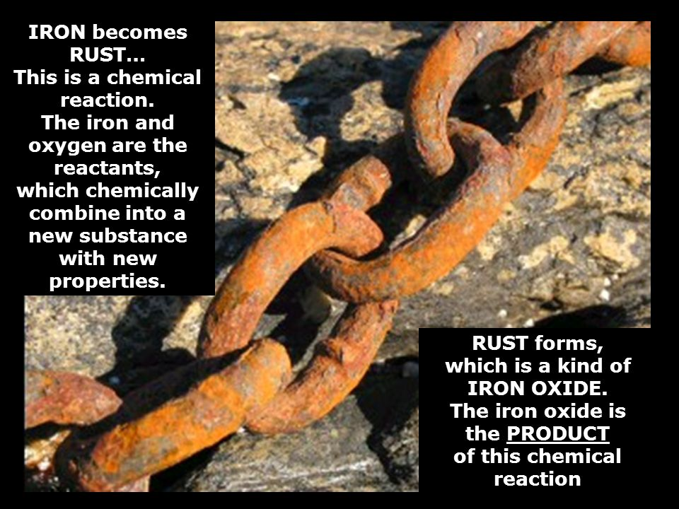 IRON becomes RUST… This is a chemical reaction.