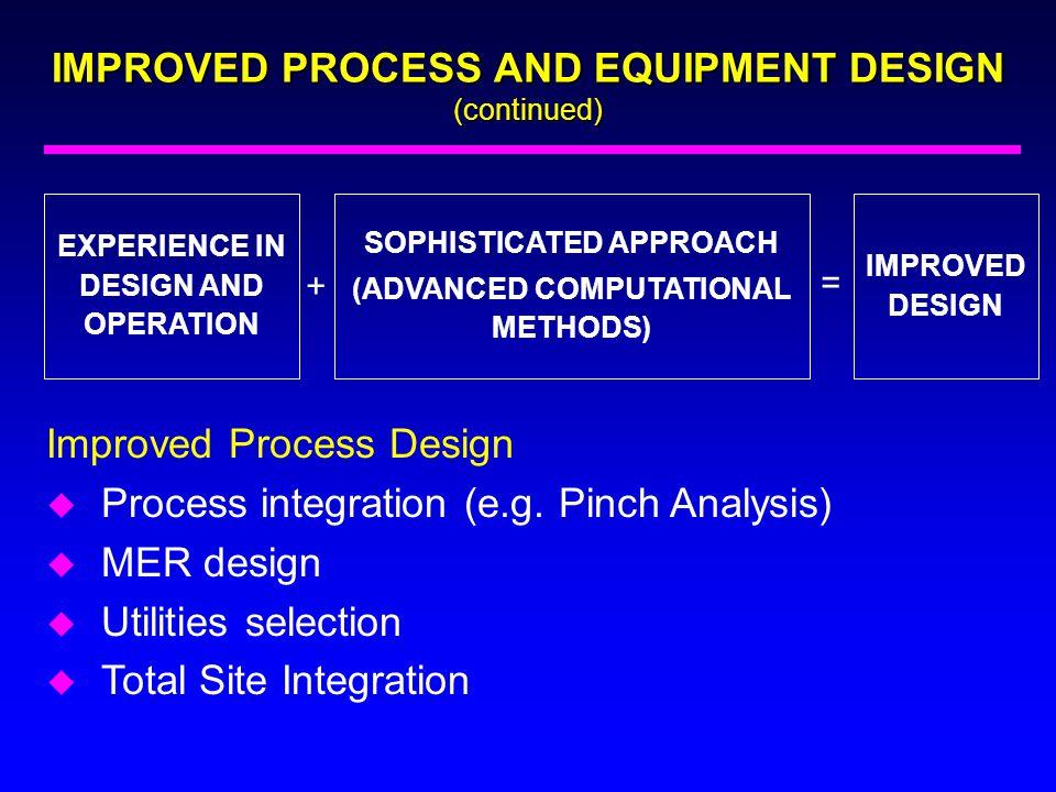 IMPROVED PROCESS AND EQUIPMENT DESIGN (continued) Improved Process Design u Process integration (e.g. Pinch Analysis) u MER design u Utilities selecti