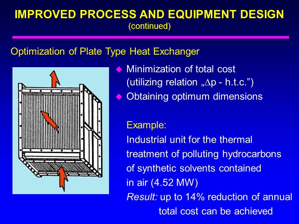 "Optimization of Plate Type Heat Exchanger u Minimization of total cost (utilizing relation ""  p - h.t.c."") u Obtaining optimum dimensions Example: In"