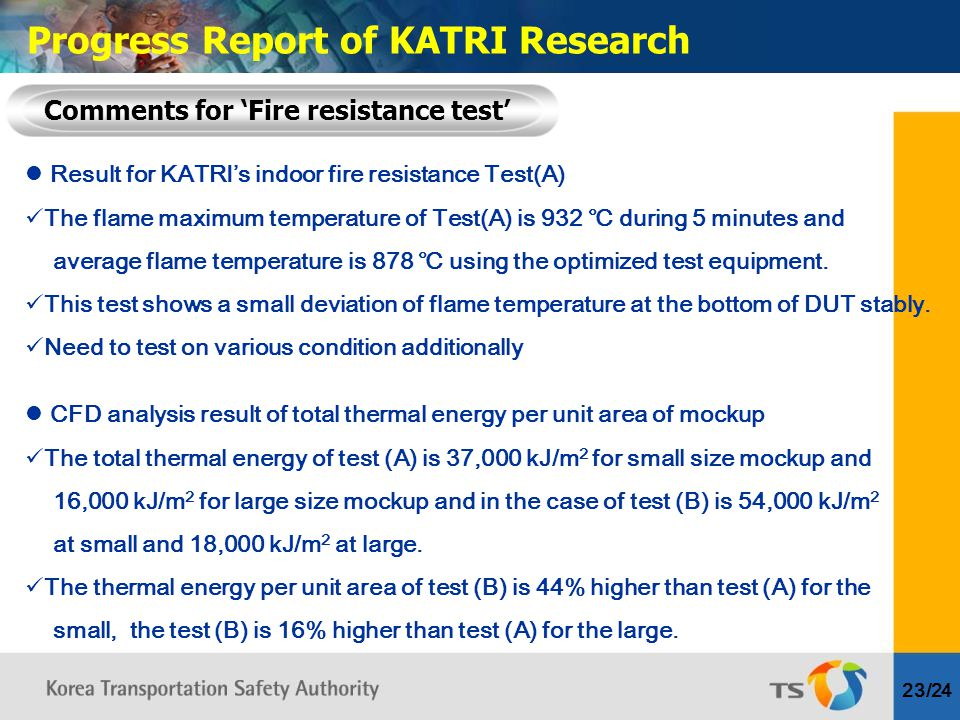 Result for KATRI's indoor fire resistance Test(A) The flame maximum temperature of Test(A) is 932 ℃ during 5 minutes and average flame temperature is 878 ℃ using the optimized test equipment.