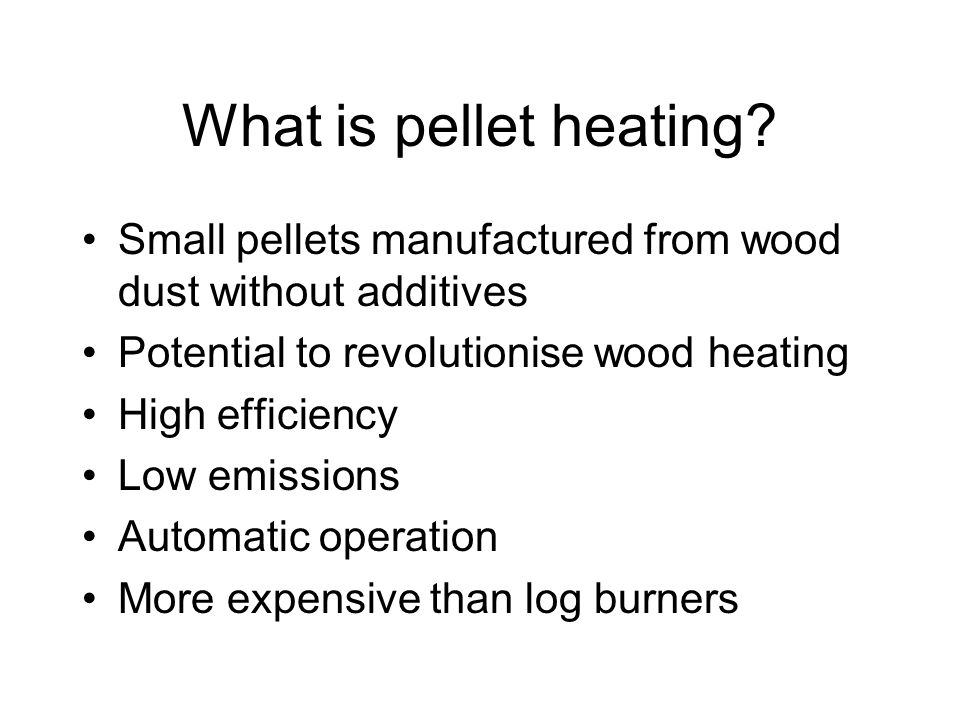 The pellet paradox No-one will buy a heater without access to pellets No-one will maufacture pellets unless there are heaters to make use of them Europe overcame problem because importing was feasible, and fuel costs of competitors are higher