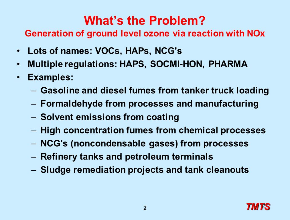 TMTS 2 2 What's the Problem? Generation of ground level ozone via reaction with NOx Lots of names: VOCs, HAPs, NCG's Multiple regulations: HAPS, SOCMI