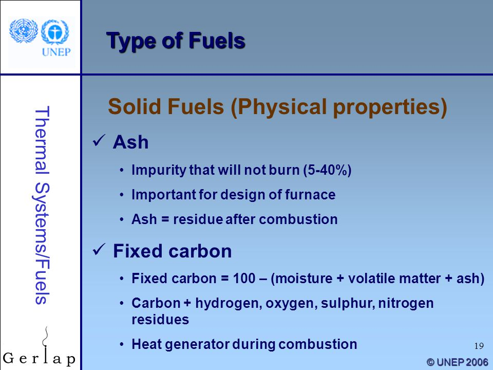 19 © UNEP 2006 Type of Fuels Solid Fuels (Physical properties) Thermal Systems/Fuels Ash Impurity that will not burn (5-40%) Important for design of f