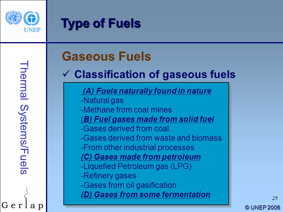 25 © UNEP 2006 Type of Fuels Gaseous Fuels Thermal Systems/Fuels Classification of gaseous fuels (A) Fuels naturally found in nature -Natural gas -Met