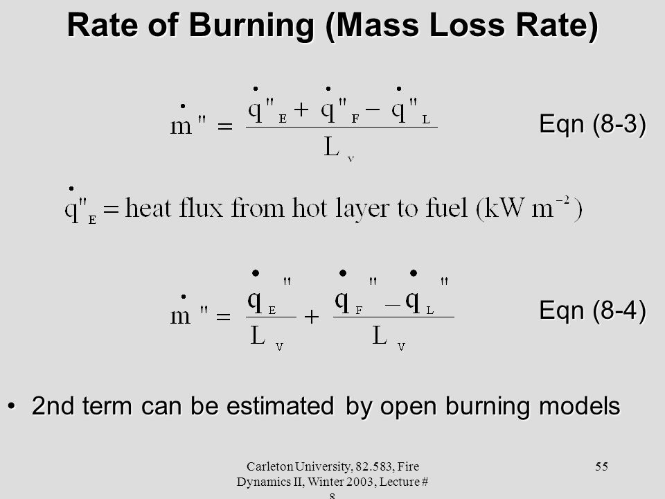 Carleton University, 82.583, Fire Dynamics II, Winter 2003, Lecture # 8 55 Rate of Burning (Mass Loss Rate) Eqn (8-3) Eqn (8-4) 2nd term can be estimated by open burning models2nd term can be estimated by open burning models