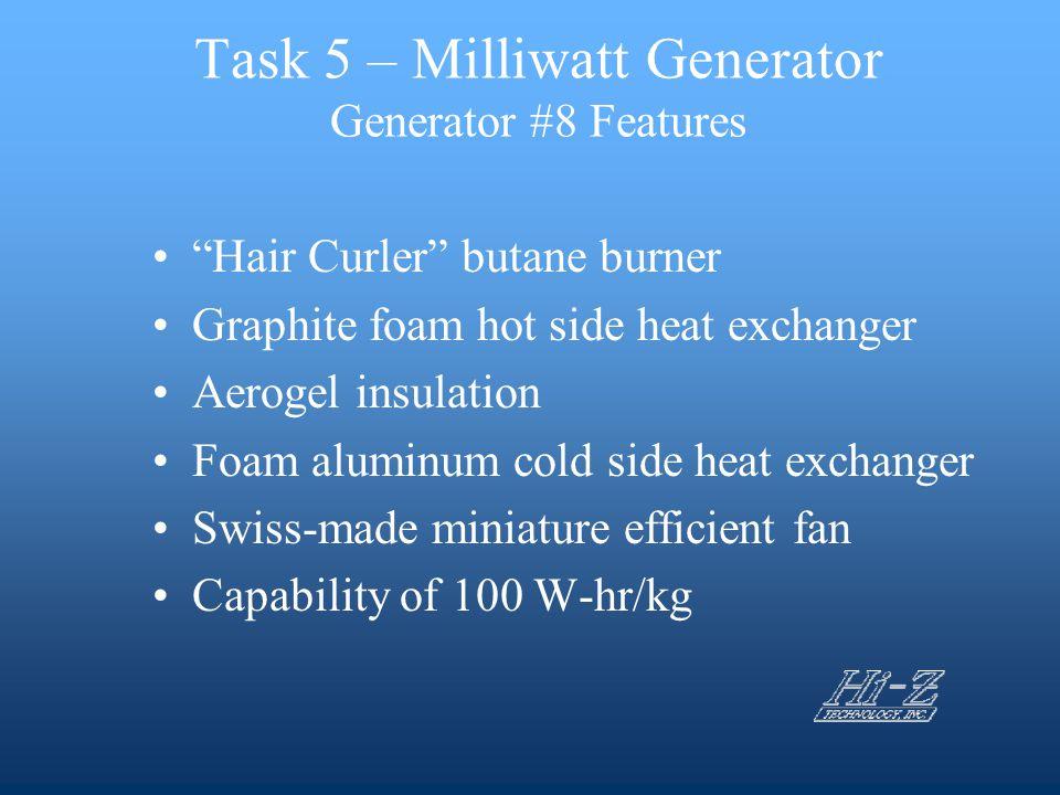 "Task 5 – Milliwatt Generator Generator #8 Features ""Hair Curler"" butane burner Graphite foam hot side heat exchanger Aerogel insulation Foam aluminum"