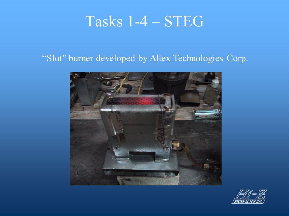 """Tasks 1-4 – STEG """"Slot"""" burner developed by Altex Technologies Corp."""