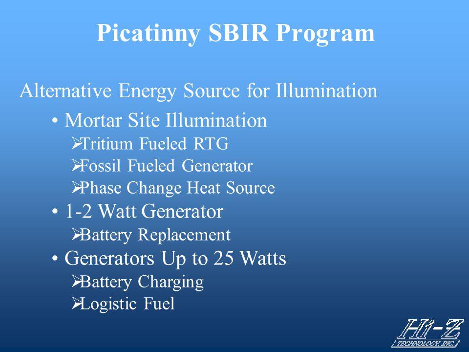 Picatinny SBIR Program Alternative Energy Source for Illumination Mortar Site Illumination  Tritium Fueled RTG  Fossil Fueled Generator  Phase Chan
