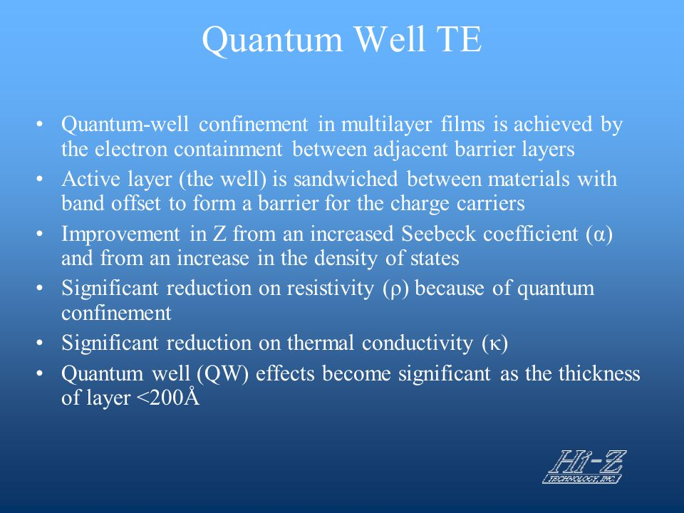 Quantum Well TE Quantum-well confinement in multilayer films is achieved by the electron containment between adjacent barrier layers Active layer (the