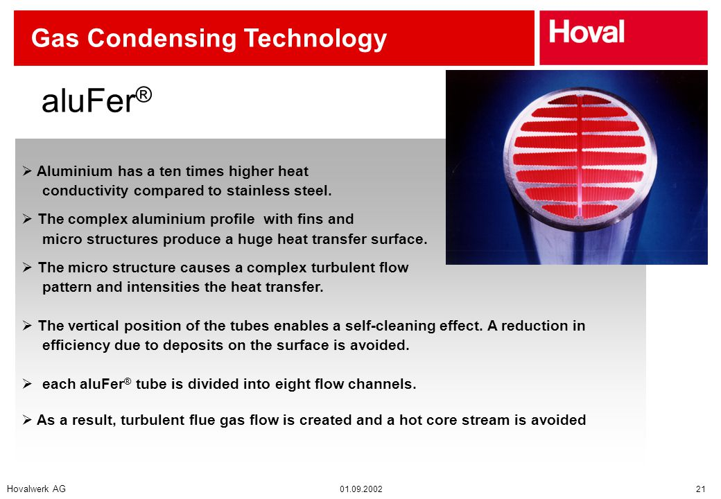 Hovalwerk AG 01.09.2002 21 Gas Condensing Technology  Aluminium has a ten times higher heat conductivity compared to stainless steel.
