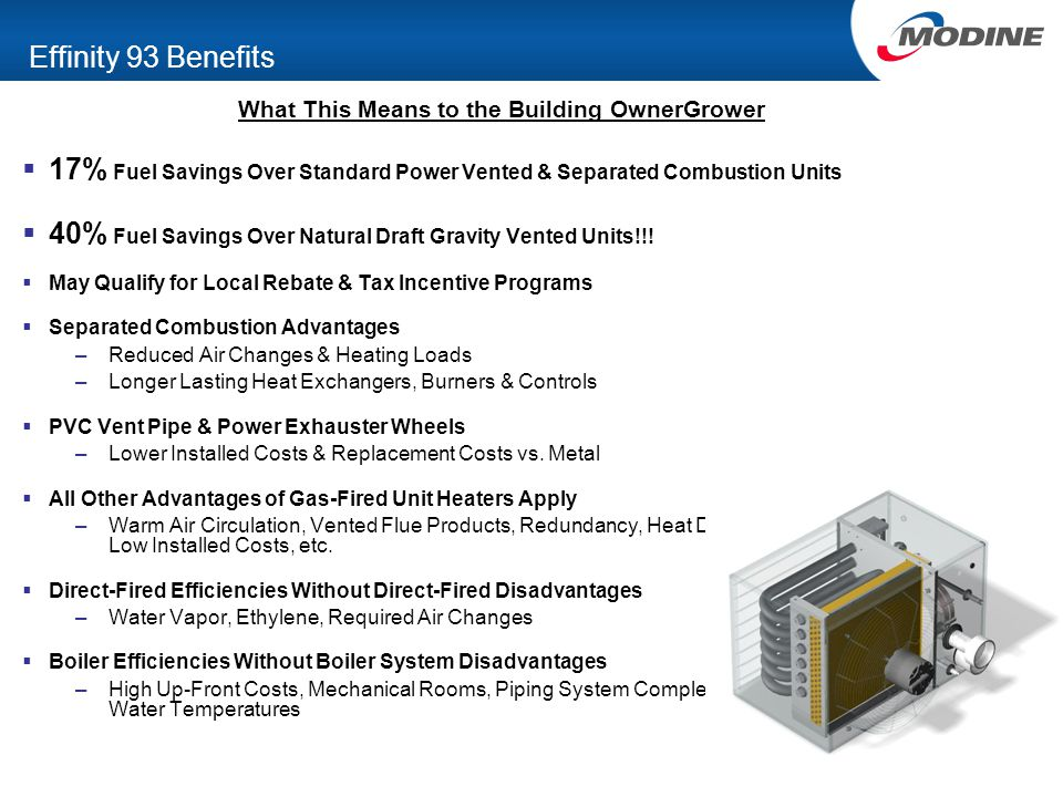 Effinity 93 Benefits What This Means to the Building OwnerGrower  17% Fuel Savings Over Standard Power Vented & Separated Combustion Units  40% Fuel Savings Over Natural Draft Gravity Vented Units!!.