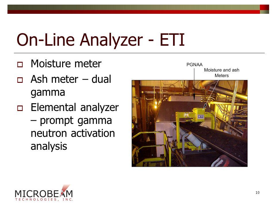 On-Line Analyzer - ETI  Moisture meter  Ash meter – dual gamma  Elemental analyzer – prompt gamma neutron activation analysis 10