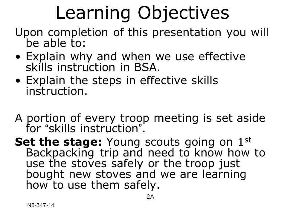 N5-347-14 Learning Objectives Upon completion of this presentation you will be able to: Explain why and when we use effective skills instruction in BS