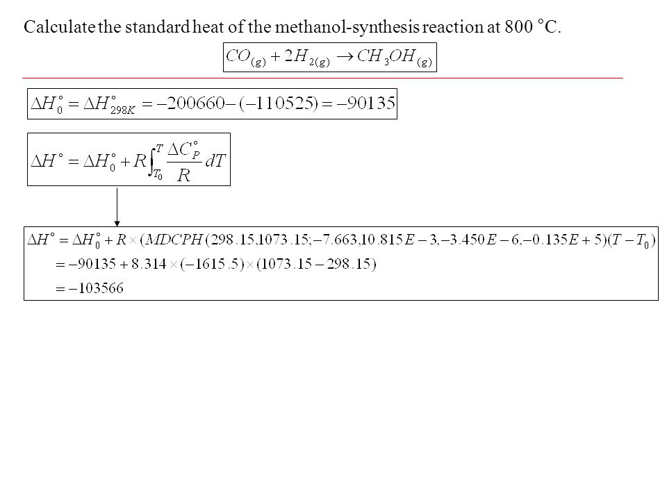 Calculate the standard heat of the methanol-synthesis reaction at 800 °C.