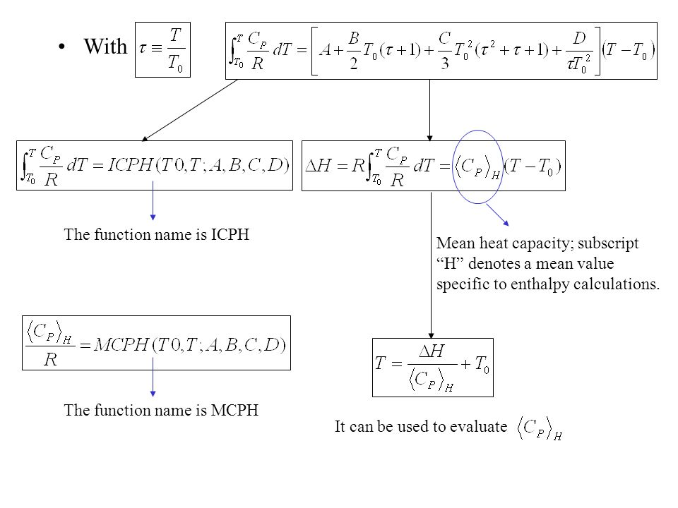 """With Mean heat capacity; subscript """"H"""" denotes a mean value specific to enthalpy calculations. It can be used to evaluate The function name is ICPH Th"""