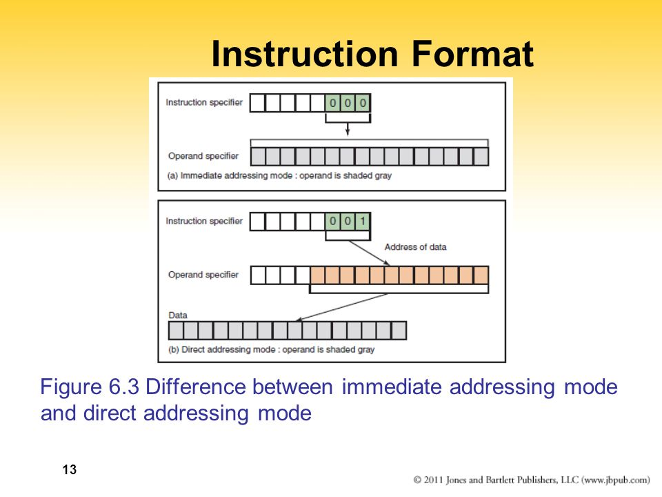 Instruction Format Figure 6.3 Difference between immediate addressing mode and direct addressing mode 13