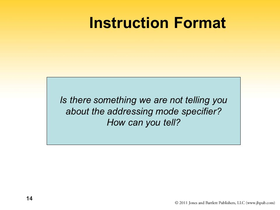 14 Instruction Format Is there something we are not telling you about the addressing mode specifier.