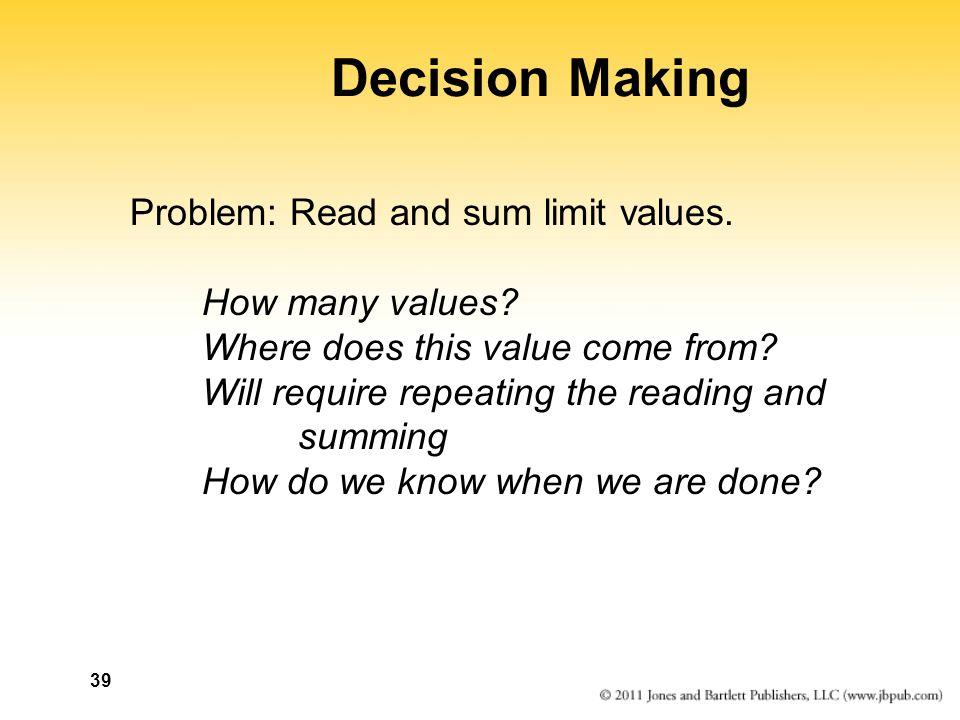 39 Decision Making Problem: Read and sum limit values.