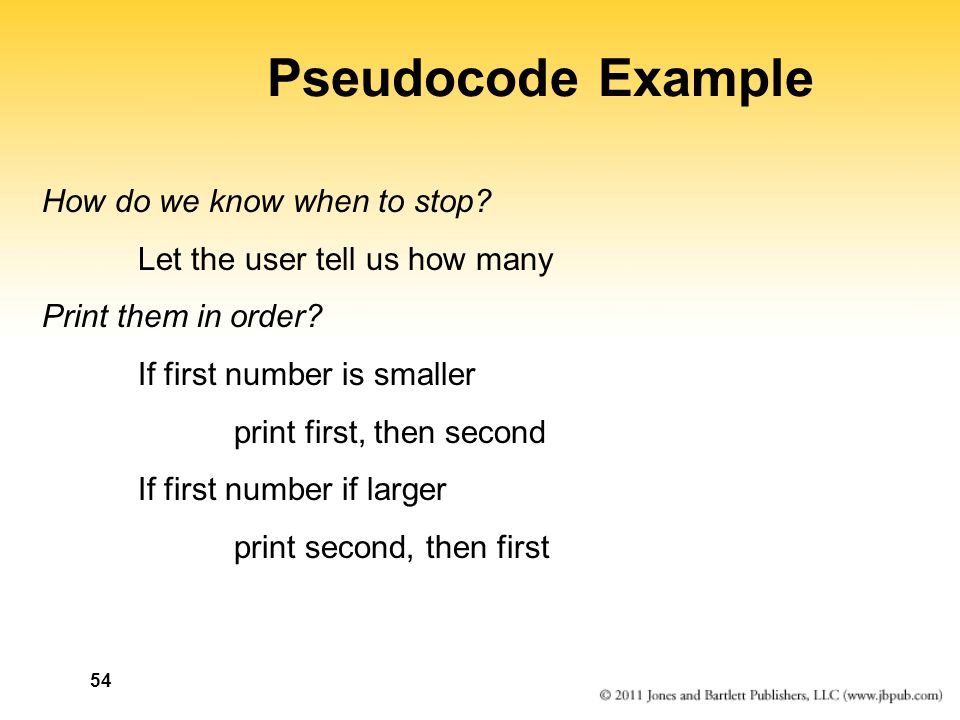 54 Pseudocode Example How do we know when to stop.