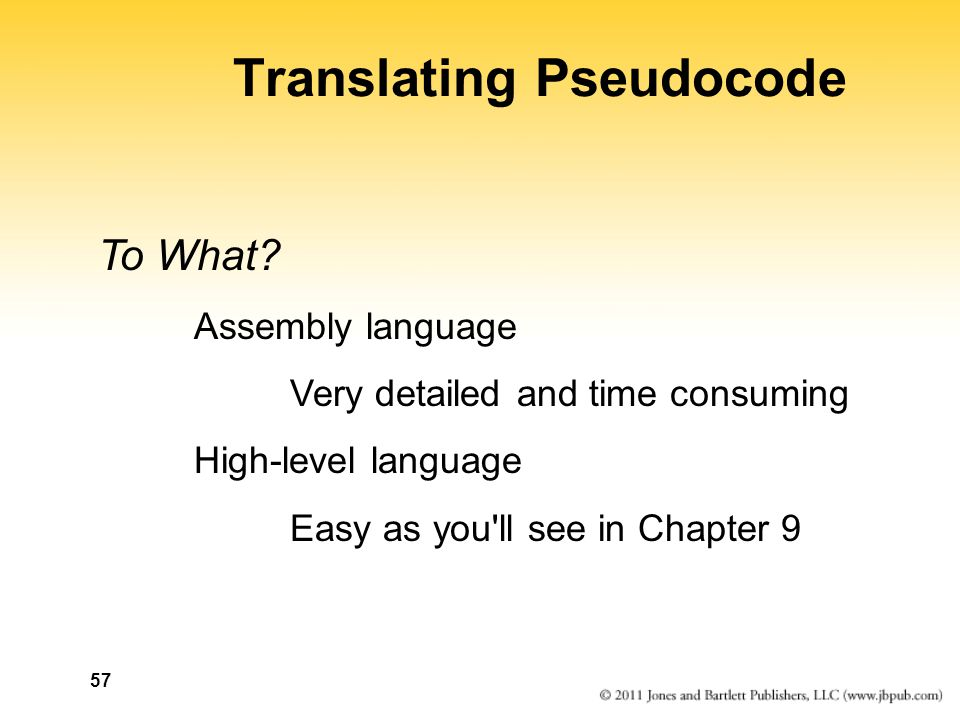 57 Translating Pseudocode To What.