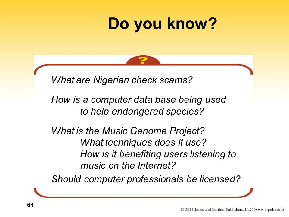 64 Do you know. What are Nigerian check scams.