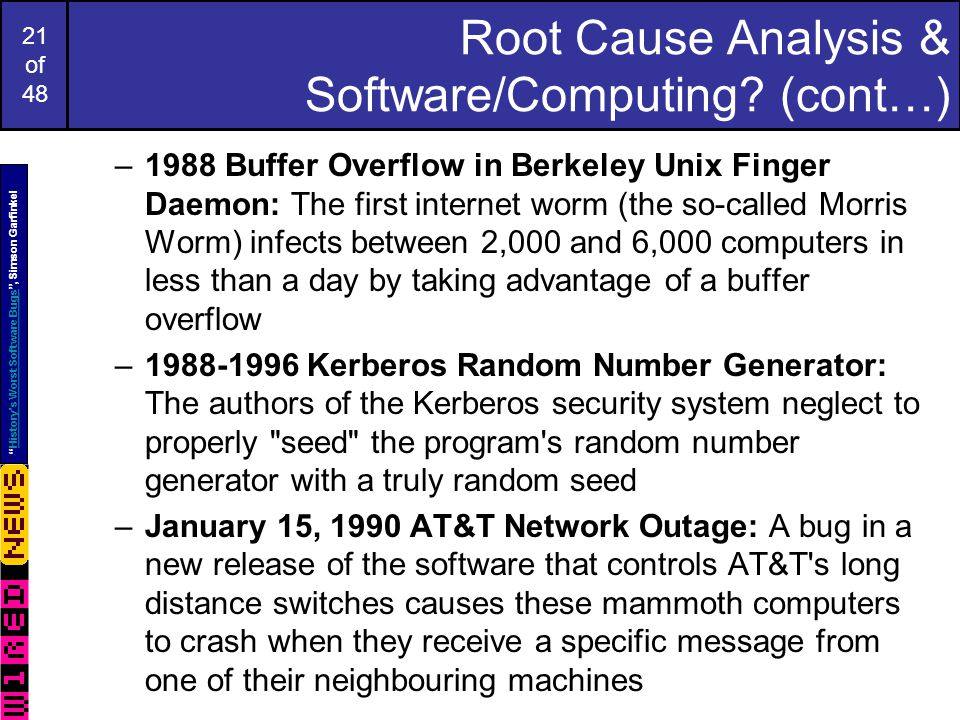21 of 48 Root Cause Analysis & Software/Computing.